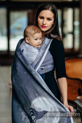 Baby Wrap, Jacquard Weave (100% cotton) - MOONLIGHT WOLF - size XS