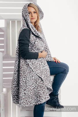Long Cardigan - size 2XL/3XL - Cheetah Dark Brown & White