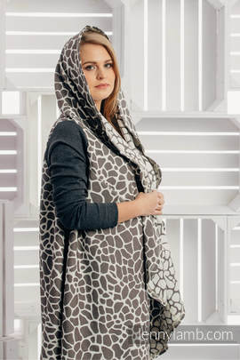 Long Cardigan - size 2XL/3XL - Giraffe Dark Brown & Cream