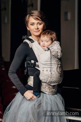 Nosidełko Ergonomiczne z tkaniny żakardowej 100% bawełna , Baby Size, SYMFONIA KREM Z BRĄZEM - Druga Generacja