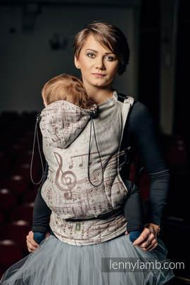 Nosidełko Ergonomiczne z tkaniny żakardowej 100% bawełna , Toddler Size, SYMFONIA KREM Z BRĄZEM - Druga Generacja