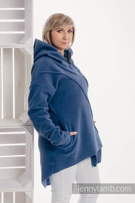 Asymmetrical Fleece Hoodie for Women - size L - Blue