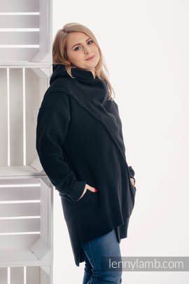 Asymmetrical Fleece Hoodie for Women - size L - Black