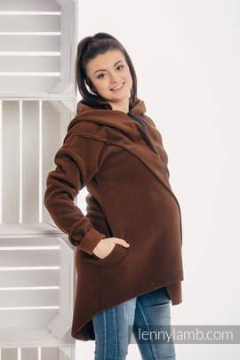 Asymmetrical Fleece Hoodie for Women - size S - Brown