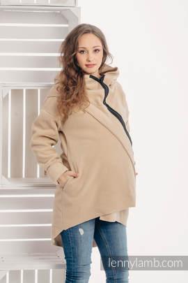 Asymmetrical Fleece Hoodie for Women - size S - Cafe Latte