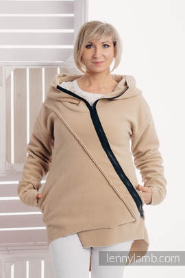 Asymmetrischer Fleece Pullover für Frauen - Größe M - Cafe Latte