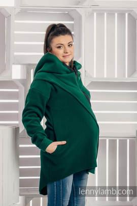 Asymmetrical Fleece Hoodie for Women - size S - Dark Green