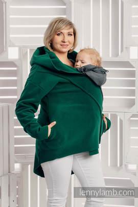 Asymmetrical Fleece Hoodie for Women - size L - Dark Green