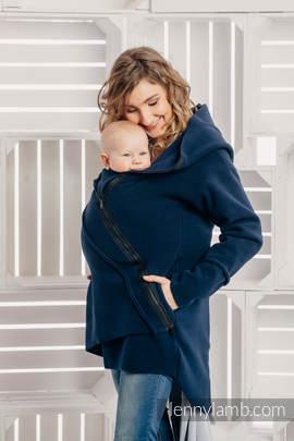 Asymmetrical Fleece Hoodie for Women - size L - Navy Blue