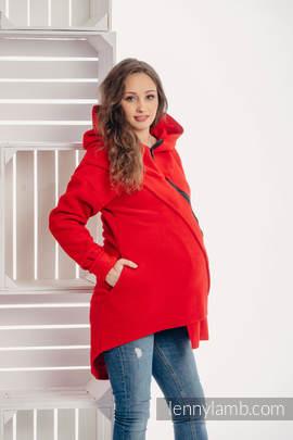 Asymmetrical Fleece Hoodie for Women - size S - Red