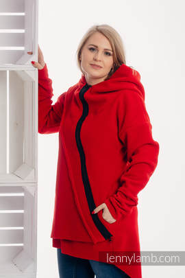 Asymmetrical Fleece Hoodie for Women - size M - Red