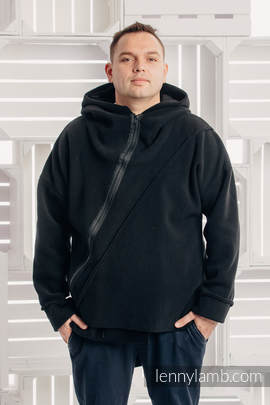 Asymmetrical Fleece Hoodie for Men - size L - Black (grade B)