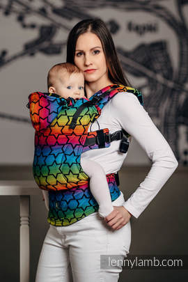 Ergonomic Carrier, Toddler Size, jacquard weave 100% cotton - wrap conversion from RAINBOW STARS DARK - Second Generation