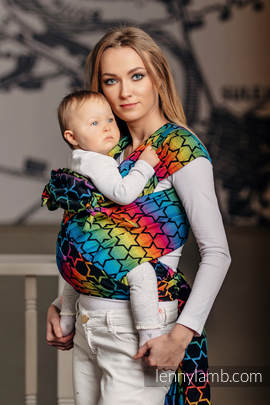 WRAP-TAI carrier Toddler with hood/ jacquard twill / 100% cotton / RAINBOW STARS DARK