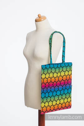Shopping bag made of wrap fabric (100% cotton) - RAINBOW STARS DARK (grade B)