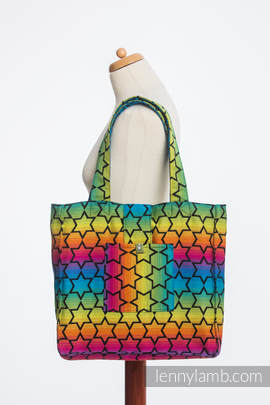 Shoulder bag made of wrap fabric (100% cotton) - RAINBOW STARS DARK - standard size 37cmx37cm