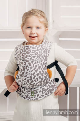 Doll Carrier made of woven fabric, 100% cotton - CHEETAH DARK BROWN & WHITE