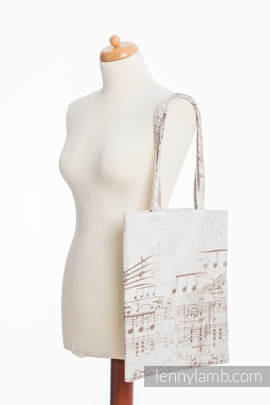 Shopping bag made of wrap fabric (100% cotton) - SYMPHONY CREME & BROWN
