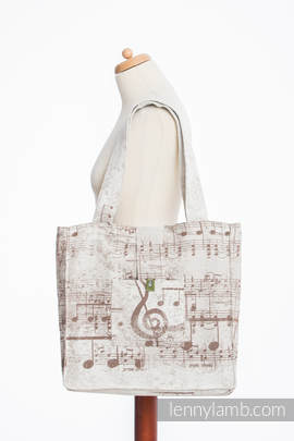 Shoulder bag made of wrap fabric (100% cotton) - SYMPHONY CREME & BROWN - standard size 37cmx37cm (grade B)
