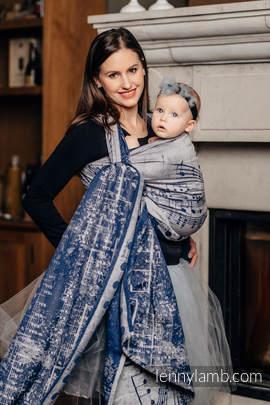Baby Wrap, Jacquard Weave (100% cotton) - SYMPHONY NAVY BLUE & GREY - size S