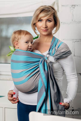 Chusta kółkowa do noszenia dzieci, tkana splotem skośno-krzyżowym - bawełniana, ramię bez zakładek - Mglisty Poranek