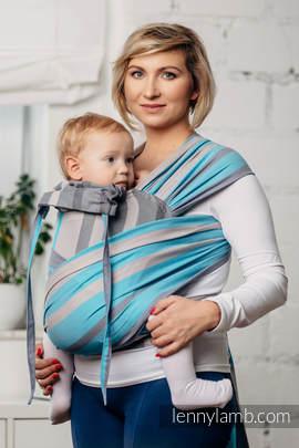 Nosidełko dla dzieci WRAP-TAI MINI, 100 % bawełna skośno-krzyżowa, z kapturkiem, MGLISTY PORANEK