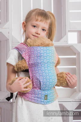 Doll Carrier made of woven fabric, 100% cotton - BIG LOVE - RAINBOW (grade B)