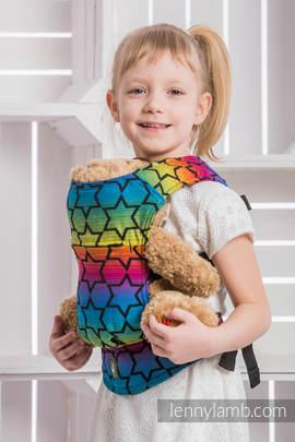 Puppentragehilfe, hergestellt vom gewebten Stoff (100% Baumwolle) - RAINBOW STARS DARK