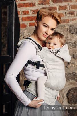 Nosidełko Ergonomiczne z tkaniny żakardowej 60% Bawełna 28% Len 12% Jedwab Tussah, Baby Size, KRYSZTAŁOWA KORONKA, Druga Generacja