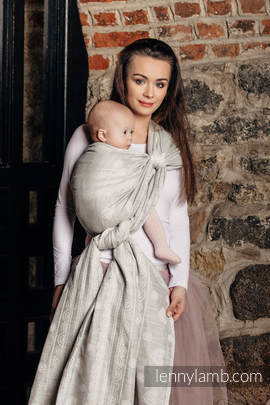 Baby Wrap, Jacquard Weave (60% cotton 28% linen 12% tussah silk) - CRYSTAL LACE - size XS (grade B)