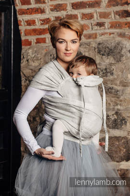 WRAP-TAI carrier Mini with hood/ jacquard twill / 60% cotton, 28% linen 12% tussah silk / CRYSTAL LACE