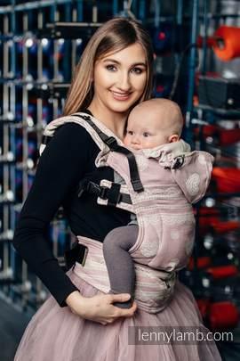 Nosidełko Ergonomiczne z tkaniny żakardowej 60% Bawełna 28% Len 12% Jedwab Tussah, Baby Size, PUDROWA KORONKA, Druga Generacja