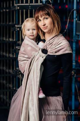 Żakardowa chusta kółkowa do noszenia dzieci, 60% Bawełna 28% Len 12% Jedwab Tussah, ramię bez zakładek - PUDROWA KORONKA (drugi gatunek)