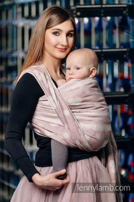 Żakardowa chusta do noszenia dzieci, 60% Bawełna 28% Len 12% Jedwab Tussah - PUDROWA KORONKA  - rozmiar S (drugi gatunek)