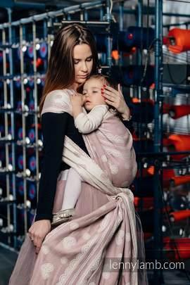 Baby Wrap, Jacquard Weave (60% cotton 28% linen 12% tussah silk) - POWDER PINK LACE - size XS (grade B)