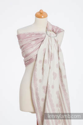 Ringsling, Jacquard Weave (60% cotton 28% linen 12% tussah silk) - POWDER PINK LACE