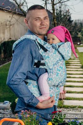 Nosidełko Ergonomiczne z tkaniny żakardowej 100% bawełna , Baby Size, SKRZYDŁA MOTYLA - NIEBIESKI - Druga Generacja