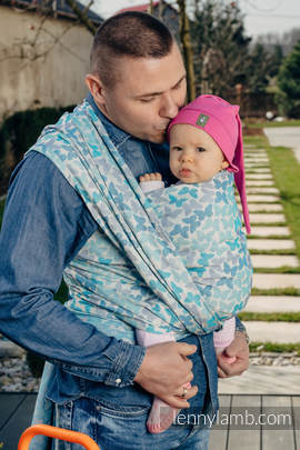 Baby Wrap, Jacquard Weave (100% cotton) - BUTTERFLY WINGS BLUE  - size S