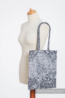 Shopping bag made of wrap fabric (100% cotton) - MOSAIC - MONOCHROME