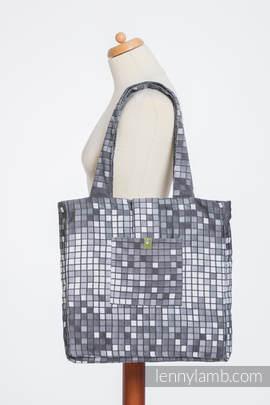 Schultertasche, hergestellt vom gewebten Stoff (100% Baumwolle) - MOSAIC - MONOCHROM - Gr. Standard 37cmx37cm