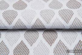 KROPLE CAFFE LATTE, ćwiartka tkaniny, splot żakardowy, rozmiar 50cm x 70cm