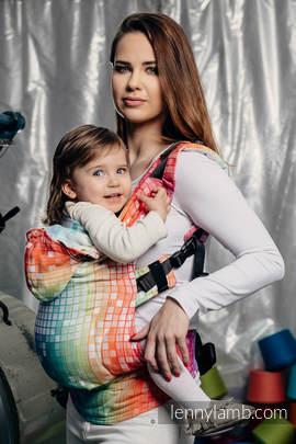 Nosidełko Ergonomiczne z tkaniny żakardowej 100% bawełna , Toddler Size, MOZAIKA - TĘCZA - Druga Generacja