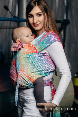 WRAP-TAI carrier Mini with hood/ jacquard twill / 100% cotton / MOSAIC - RAINBOW