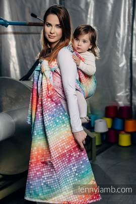 Baby Wrap, Jacquard Weave (100% cotton) - MOSAIC - RAINBOW - size S (grade B)