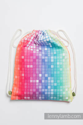 Sackpack made of wrap fabric (100% cotton) - MOSAIC - RAINBOW - standard size 32cmx43cm