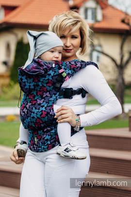 Nosidełko Ergonomiczne z tkaniny żakardowej 100% bawełna , Baby Size, SKRZYDŁA MOTYLA NOCĄ - Druga Generacja