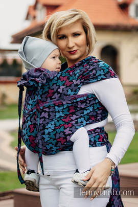 WRAP-TAI carrier Mini with hood/ jacquard twill / 100% cotton / BUTTERFLY WINGS at NIGHT