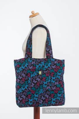 Schultertasche, hergestellt vom gewebten Stoff (100% Baumwolle) - BUTTERFLY WINGS at NIGHT- Gr. Standard 37cmx37cm