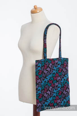 Shopping bag made of wrap fabric (100% cotton) - BUTTERFLY WINGS at NIGHT
