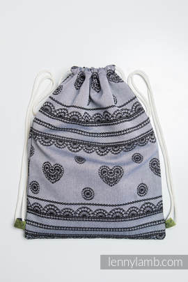 Sackpack made of wrap fabric (100% cotton) - GLAMOROUS LACE REVERSE - standard size 32cmx43cm